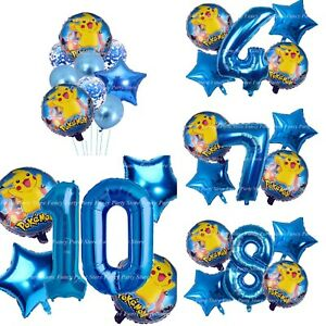 Pokemon Birthday Balloons Pikachu Foil Age Balloon Set Confetti Ash Charmander