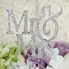 Mr Mrs Monogram Silhouette Rhinestone Wedding Cake Topper Decoration Crystal