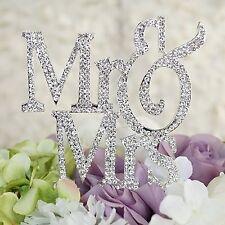Mr Mrs Monogram Silhouette Rhinestone Wedding Cake Topper Decoration Crystal