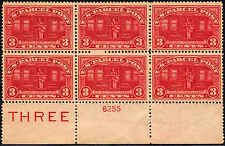 1913 US Stamp #Q3 PP3 3c Mint NH VF Plate Block of 6 Catalogue Value $375