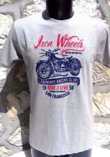 TEE SHIRT HOMME GRIS CLAIR VINTAGE MOTO .