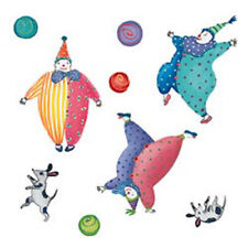 """Circus Theme Decor Wallies Huge Wall Murals 18"""" Here Come The Clowns Balls Dogs"""