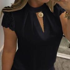 Fashion Women Ladies Casual Chiffon Short Sleeve Splice Lace Crop Top Blouse