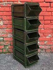Set of 5 Vtg Industrial Metal No. 2 Stack Rack Stackbins Storage Parts Organizer
