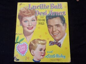 Lucille Ball Desi Arnaz, Whitman 1953 Cut Out Dolls, Folder, clothes, pre owned