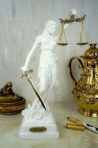Alabaster Justitia Göttin Figur Skulptur Themis Recht Gerechtigkeit 32 cm weiß