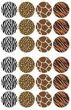 24 x Animal Safari Zebra Print Edible Cupcake Toppers Pre-Cut