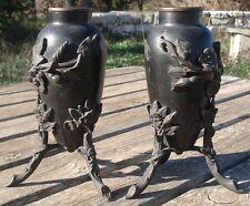 -Garniture de Cheminée Vases Amphore en Bronze