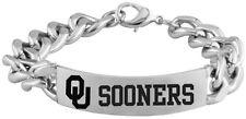 UNIVERSITY OKLAHOMA SOONERS OU * Stainless Steel Logo ID Bracelet * NCAA Jewelry