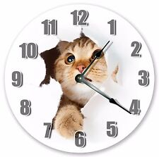 """10.5"""" CAT IN WALL HOLE CLOCK - Large 10.5"""" Wall Clock - Home Décor Clock - 3222"""