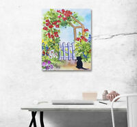 "1PC 16X20"" Fence & Black Cat Art Painting On Canvas NO Frame Painted Photo1L2031"