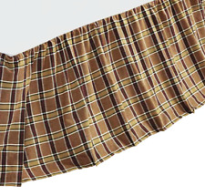 WYATT Queen BEDSKIRT : BROWN BLACK PLAID CHECK COTTAGE COUNTRY DUST RUFFLE SKIRT