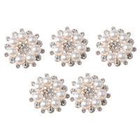 5 Stück Strass Faux Perle Blumen Buttons Knopf Holz Knöpfe Bastelknöpfe