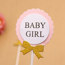 Gold Glitter Cupcake Toppers Pink Bow For Girl Baby 1st Birthday Party