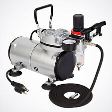 New Pro Air Compressor w/ Air Filter & Dual Airbrush Holder Set Tattoo Nail Art