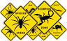 Novelty Road Signs Yellow Stick Insect Spider Centipede Scorpion Mantis