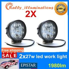 Round 2X 27W Spot Beam LED Work Light Bar Off-road Driving Light Truck ATV RAY
