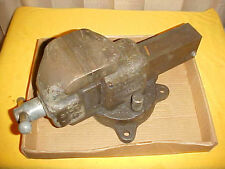 "RARE VINTAGE DODGE -40- 4"" X 5&1/2"" SLIDE SET SWIVEL BENCH VISE MISHAWAKA IN USA"
