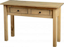 PANAMA NATURAL WAX PINE 2 DRAWER CONSOLE TABLE *FREE NEXT DAY DELIVERY