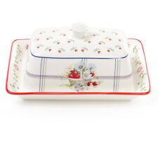"5x7"" Porcelain Butter Dish with Strawberry Pattern in Country Style"