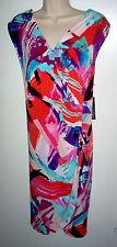 WOMENS DRESS 22W MULTI COLOR STRETCH SLEEVELESS NEW w/TAGS RETAIL $100