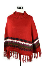 The Alpaca Connection Shawl Cape Sweater Poncho Red Fringe Boho Hipster