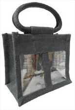 2 JAR JUTE BAG with Window,Partition & Cotton Corded Handles -Black