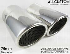 EMBOUTS CHROME ECHAPPEMENTS TUYAUX pour VW PASSAT CC 2008-12 4MOTION R Line 75mm