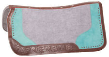 USED AMAZING LEATHER WESTERN GEL WOOL INFUSED HORSE SADDLE PAD BLANKET GRAY TEAL