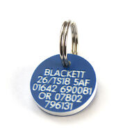 Engraved lightweight durable Mini Plastic ID tag 21mm for Dogs or Cats 7 colours