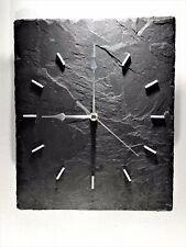 Wall Clock Slate UNIQUE Contemporary Black Grey. Non ticking Sweeping Quartz