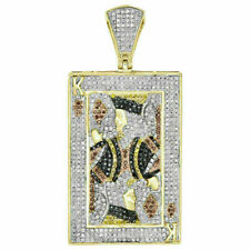"King Poker 2"" Inch Charm 1.25 Ct 10K Yellow Gold Over Diamond Pendant Royal"