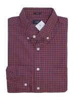 J.Crew Factory - Men's L - Slim Fit - Red/Navy Micro-Gingham Plaid Washed Shirt