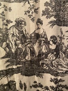 French Country Toile Lined Custom Drapes Pleat Black Off-White Pair