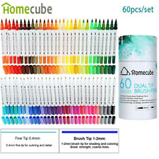 Homecube 60 Colors Sketch Marker Pen Set Watercolor Brush Pen Drawing Art Supply