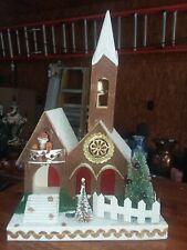 Vintage Christmas Village Mica Cardboard Putz House Church w/ man