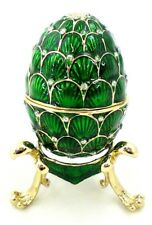 Egg Trinket Box with Stand. Hand Made with Swarovski Crystals & Enamel