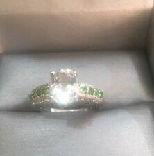 Sterling Silver Topaz & Green Garnet Ring Sz 8