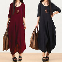UK 8-24 ZANZEA Women Crewneck 3/4 Sleeve Asymmetric Hem Long Shirt Dress Plus