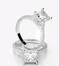 Natural 1.91 Ct Princess Cut Diamond Engagement Ring Round Pave F,VS1 GIA Center