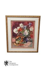Stunning Floral Still Life Watercolor Print in Gold Frame Flowers Vase Realism