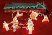 Vintage Tony Electrified Santa and 8 Tiny Reindeer Christmas String 10 Light Set
