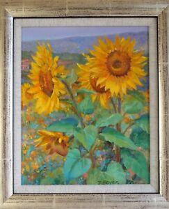 D. Boyer (20th century)  Framed acrylic on canvas board 'Sunflowers'