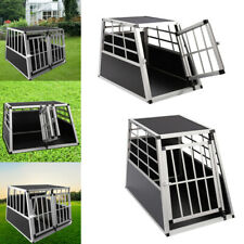 Double/Single Door Aluminum Transport Cage Lockable Crate Dog Carrier Travel Box