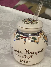 Vintage Jar French Mustard Pot Digoin Moutarde Bocquet Yvetot 1735 with Lid