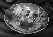 Tiffin Glass 3-Toed Footed Bowl 15360 with floral etch