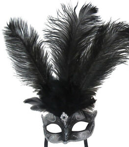 BLACK  FEATHER MASK WITH SILVER VENETIAN CARNIVAL MASQUERADE BALL EYE FACE PARTY