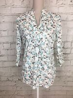 Womens TU White Blue Patterned 3/4 Sleeve Thin Floral Blouse Size 8