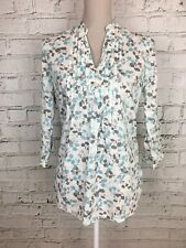 TU White Blue Patterned 3/4 Sleeve Thin Floral Blouse Cotton UK 8