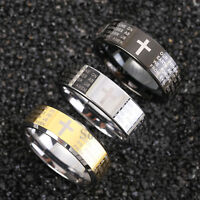 8mm Black Silver Gold Mens Tungsten Carbide Ring Lord Prayer Cross Band Jewelry